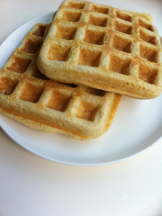 Plain waffles with peeled zucchini instead of pumpkin