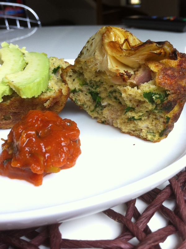 Savoury muffins with avocado & tomato relish