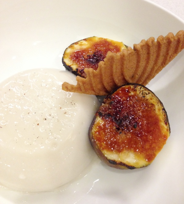 Dairy free coconut pannacotta with Caramel figs & Pizzelle
