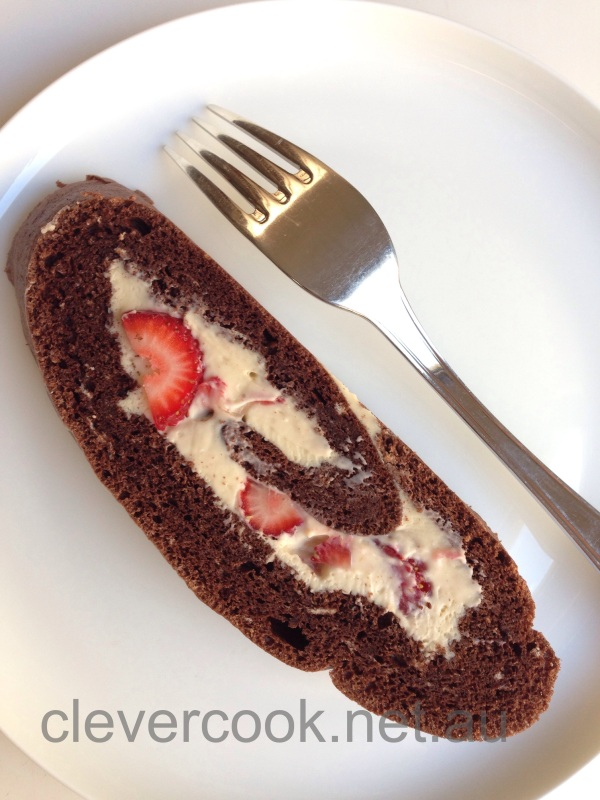Chocolate & Strawberry Roulade. Dairy free, Gluten free, possibly Sugar free