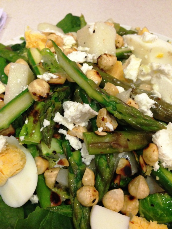 Warm Brussel Salad with Hazelnuts & Asparagus