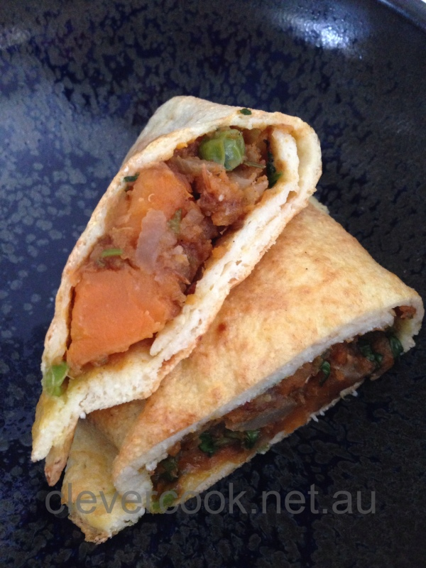 A grain-free sweet potato samosa