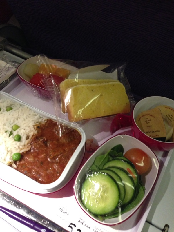 My gluten free meal c/- Thai airways. At least there was live cucumber!