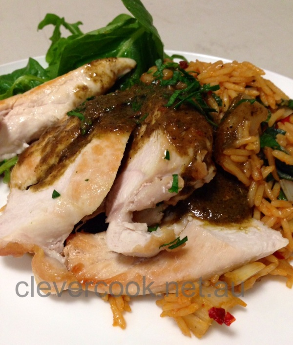 Jerk sauce on my chicken, served with a tomato pilaf & salad.