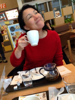 Me, after eating the creamy delights at Odori Bisse, Sapporo!!